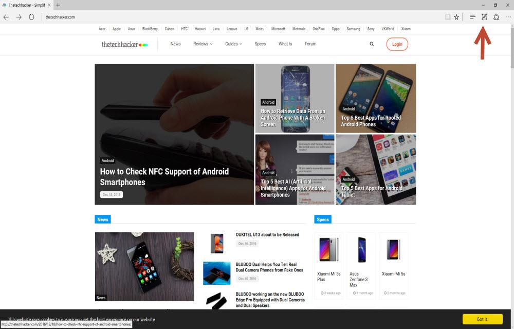 Step 1 To Take Screenshot In Microsoft Edge Browser