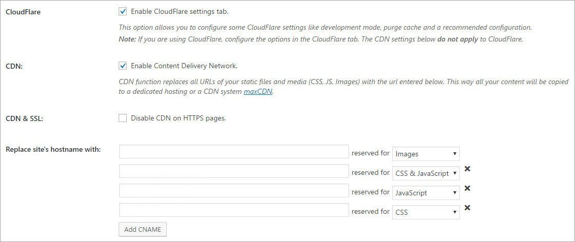 WP Rocket Enabled CDN and Cloudflare