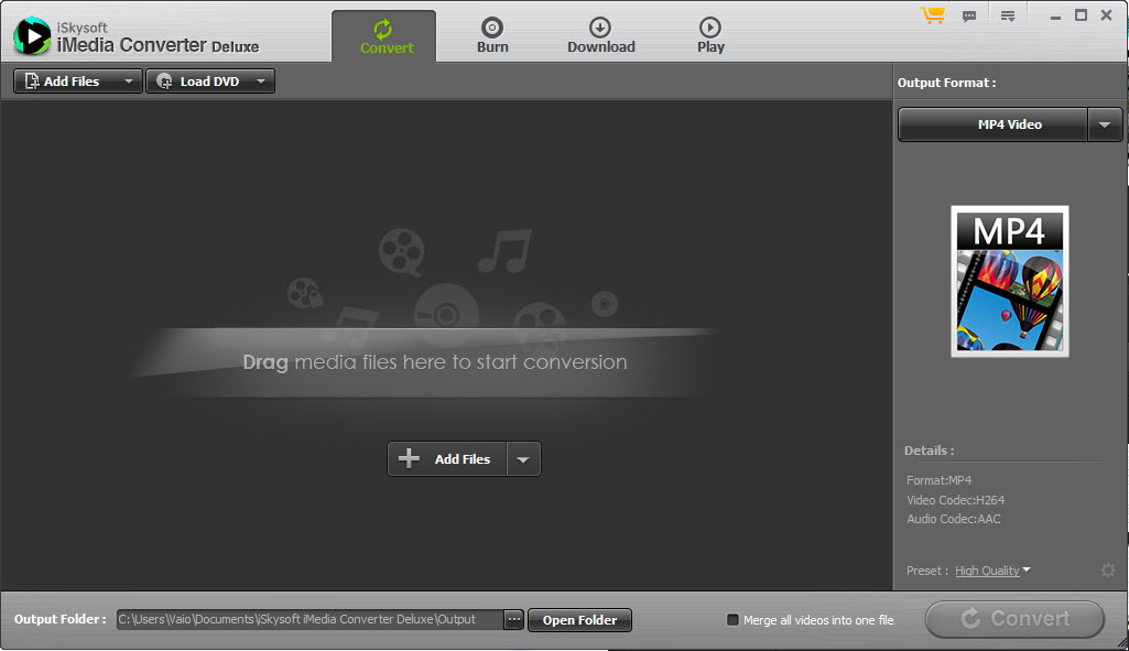 iSkysoft iMedia Converter Interface