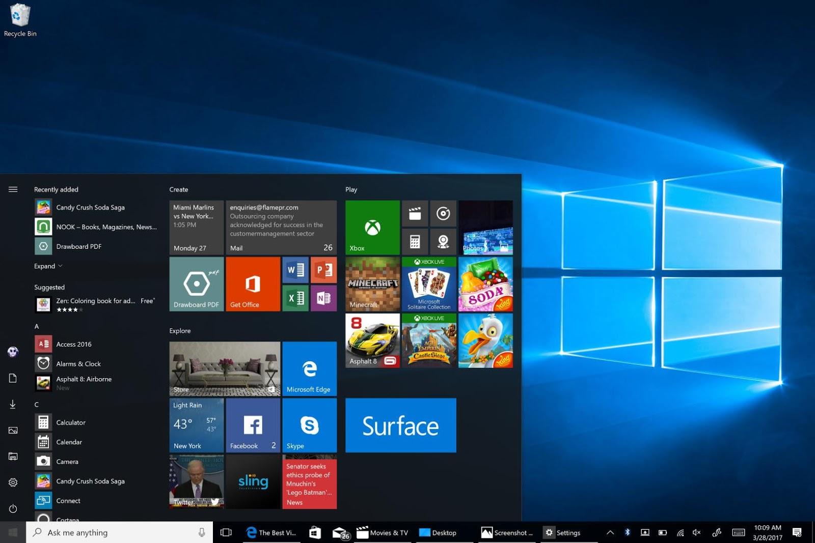 Windows 10 Start Screen to Increase Internet Speed