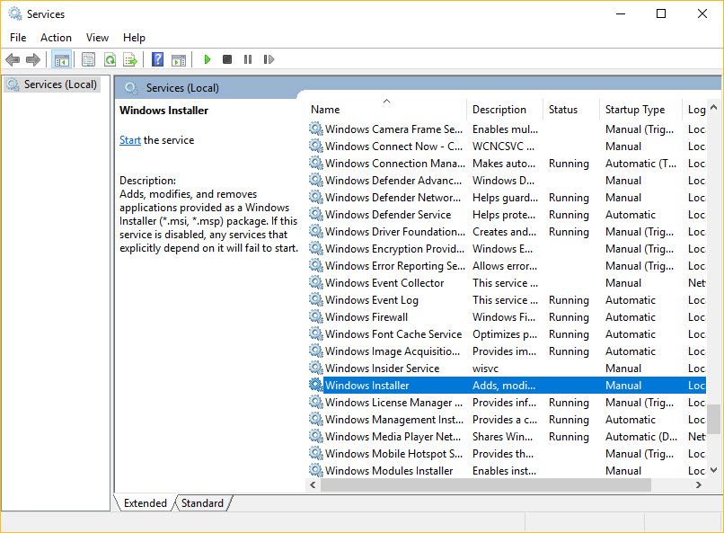 Windows Installer Stop Service