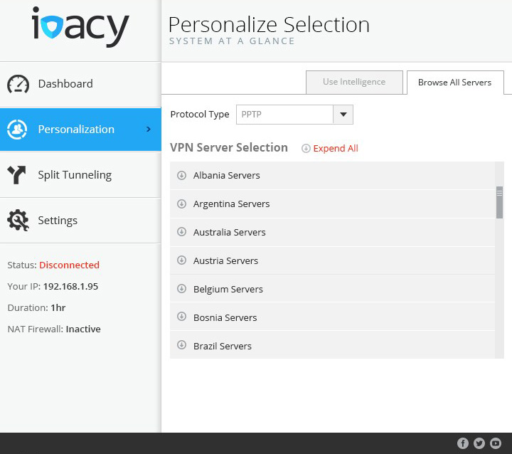 Ivacy Interface