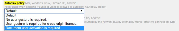 Disable Video Autoplay on Google Chrome