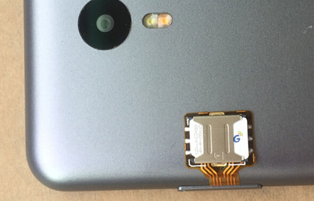 Hybrid Sim Adapter Installed on a Phone