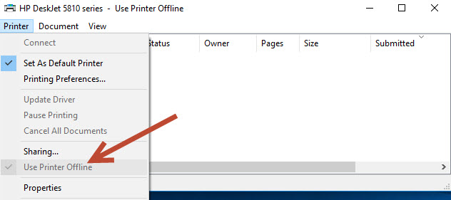 Uncheck Use Print Offline