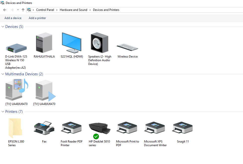 devices and printers option