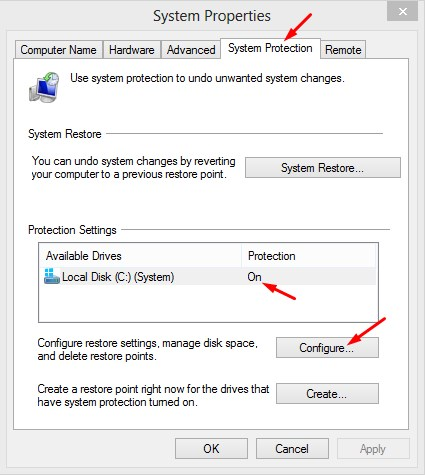 Configure System Restore in Windows 8