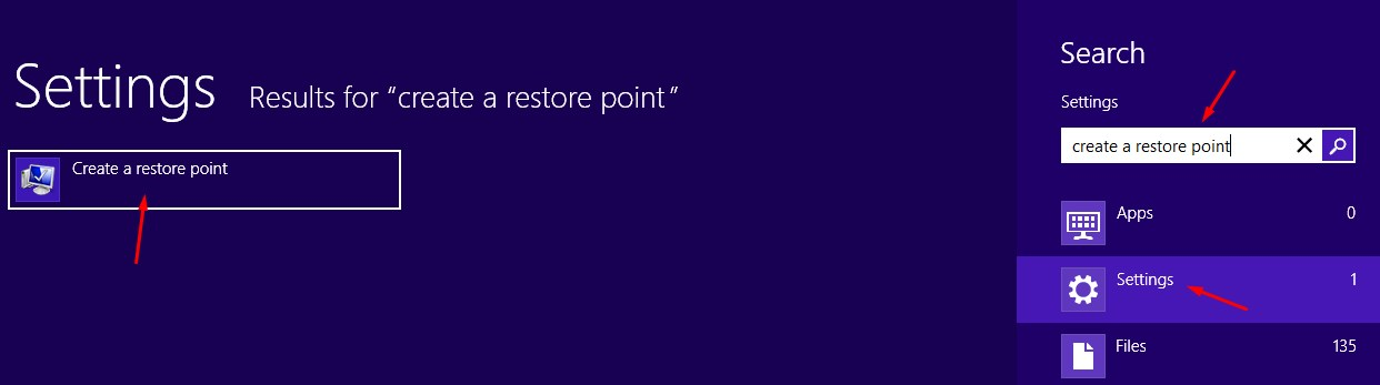Create a Restore Point in Menu Windows 8