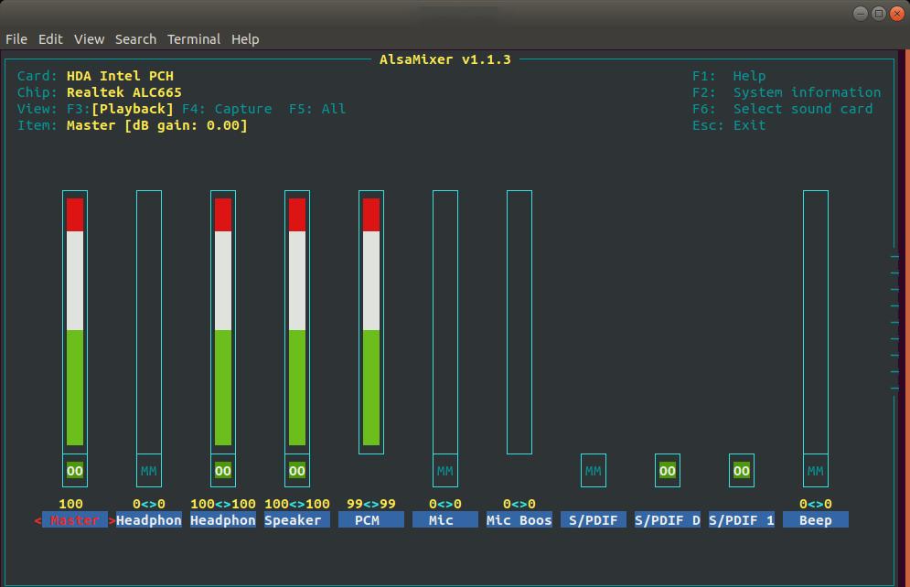 ALSA Mixer in Terminal Ubuntu