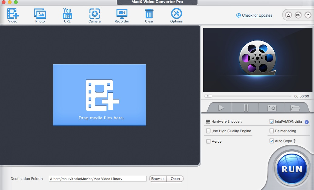 MacX Video Converter Pro User Interface