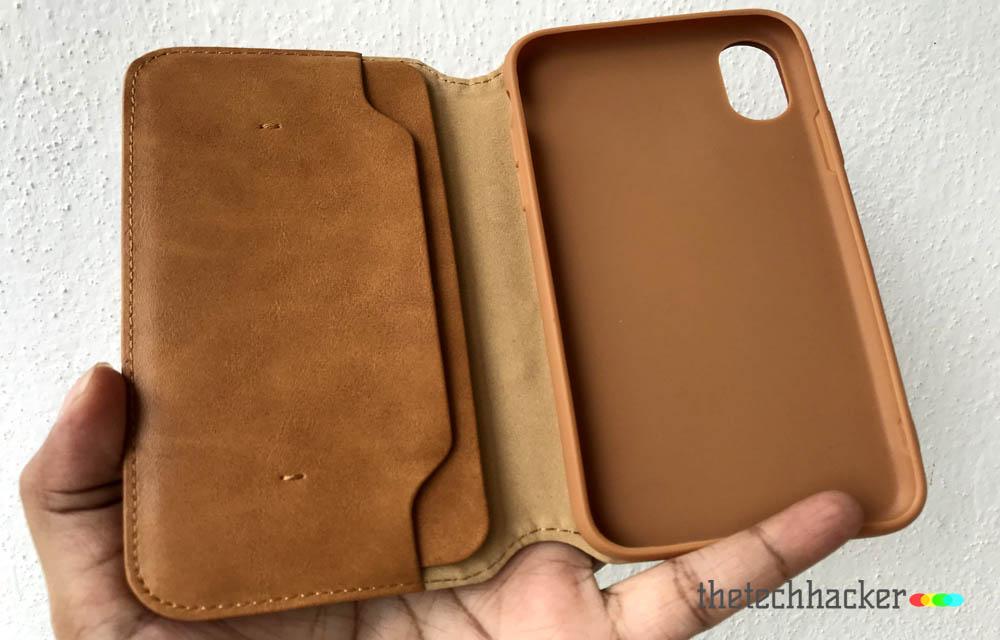 Jisoncase Microfiber Leather Wallet Case for Apple iPhone X Design