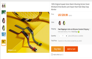 Honor Band 4 listing on AliExpress