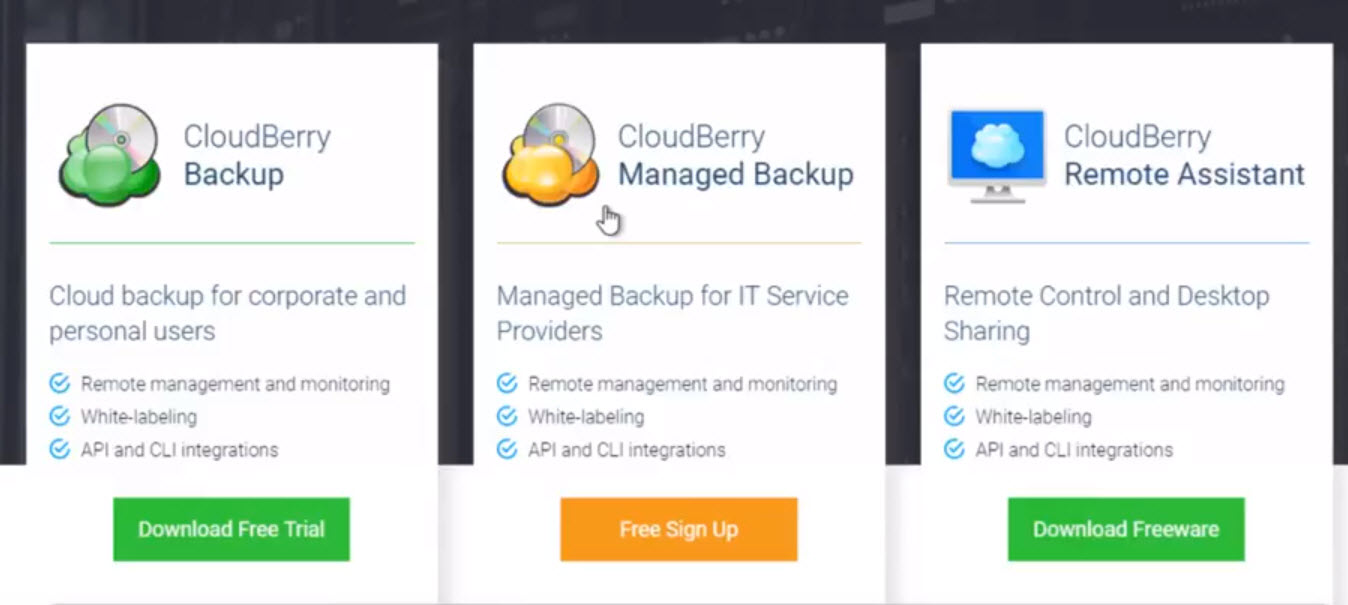 CloudBerry Backup Plans
