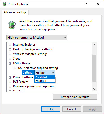 Power Options USB Settings