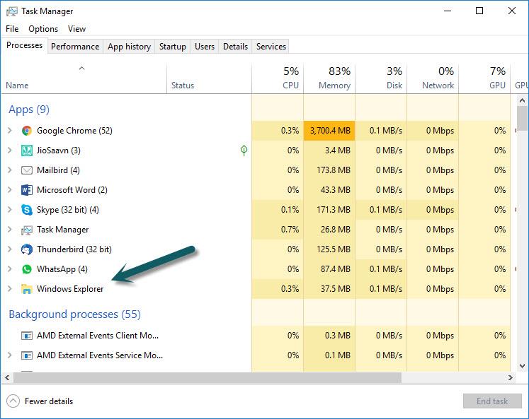 Windows Explorer Restart in Task Manager