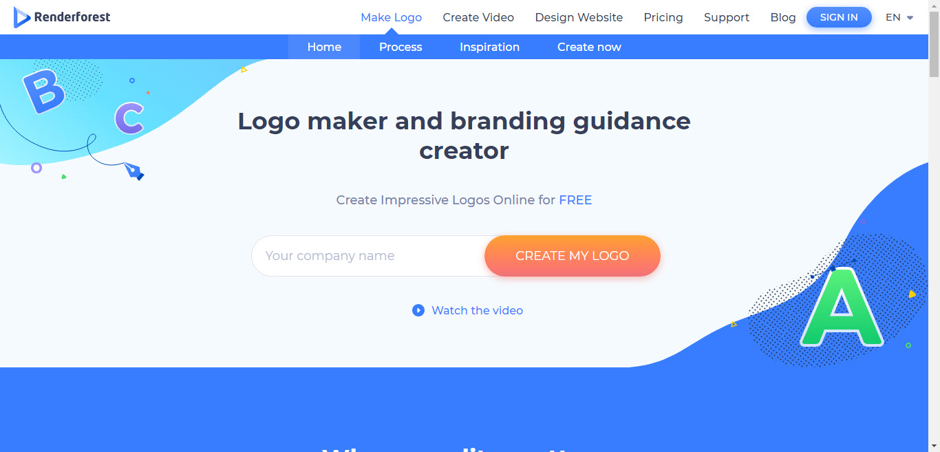 Renderforest Logo Maker Interface