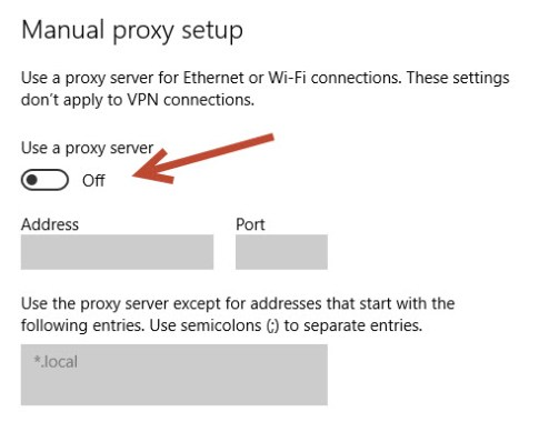 Proxy On/Off Option