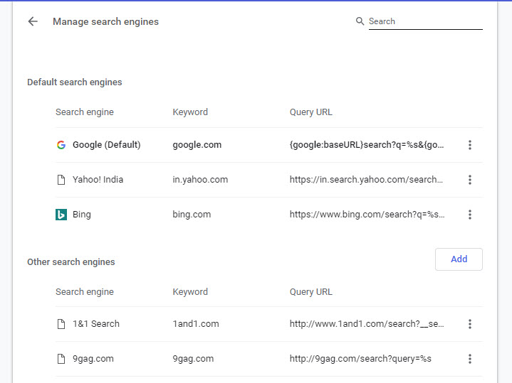 Managing Search Engines adding and removing