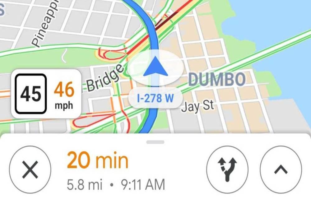 Google Maps speedometer feature