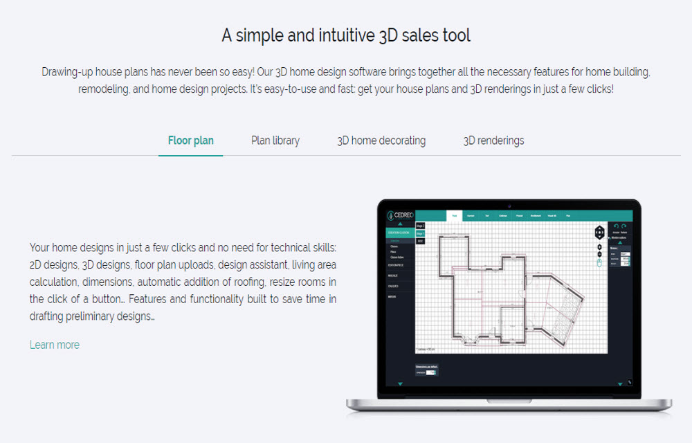 Cedreo 3D sales tool