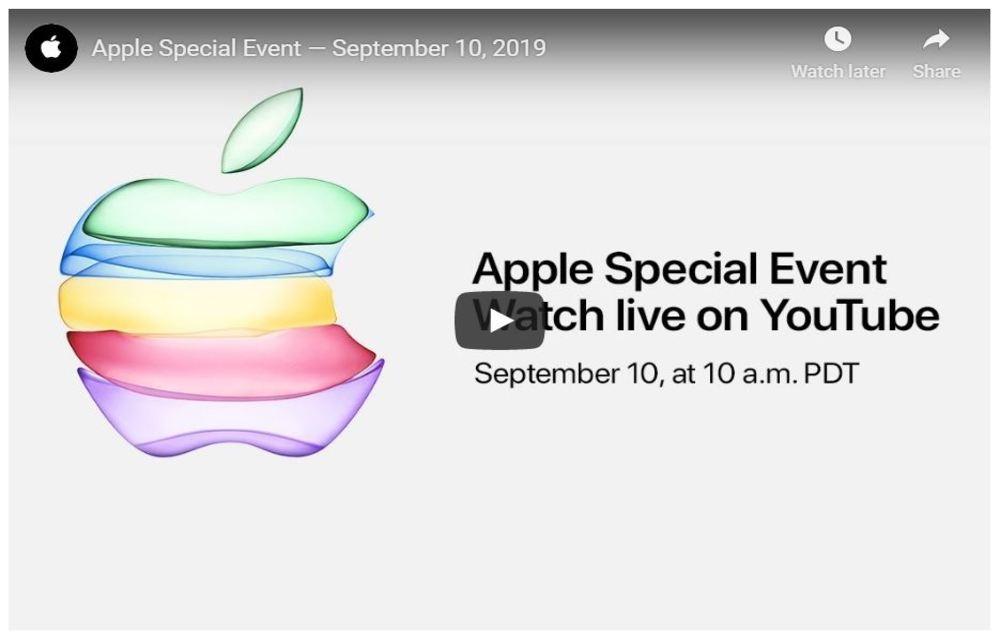 Apple event on YouTube