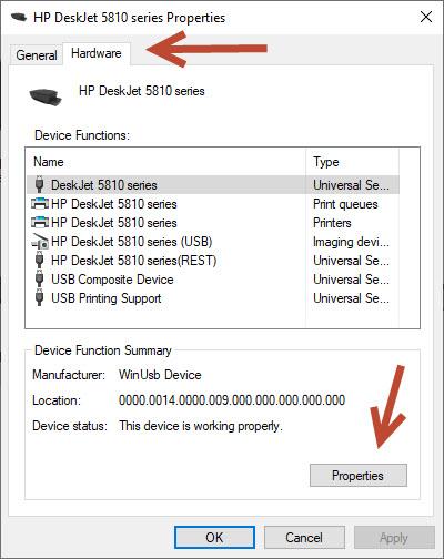 Printer Properties-hardware tab