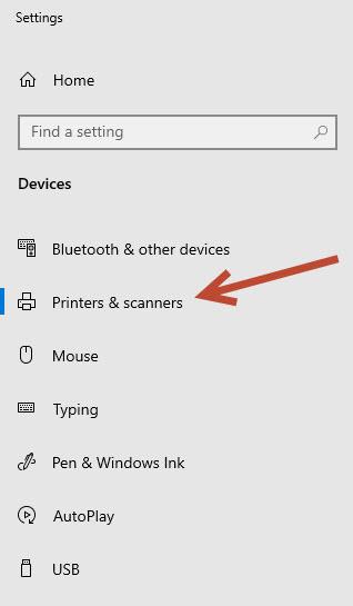 Select printer and scanner option