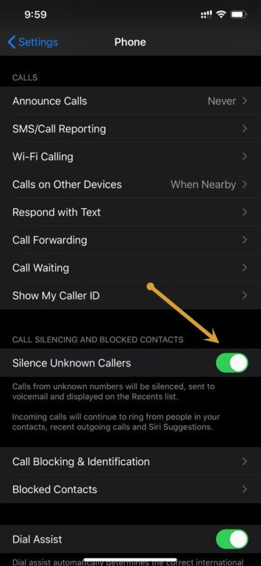 Silencing unknown callers from iPhone phone settings