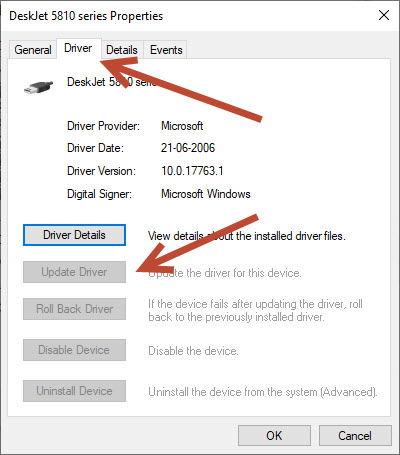Update Driver manually options