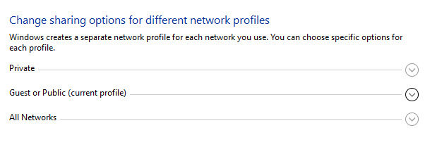clicking current profile window in Change advanced sharing settings