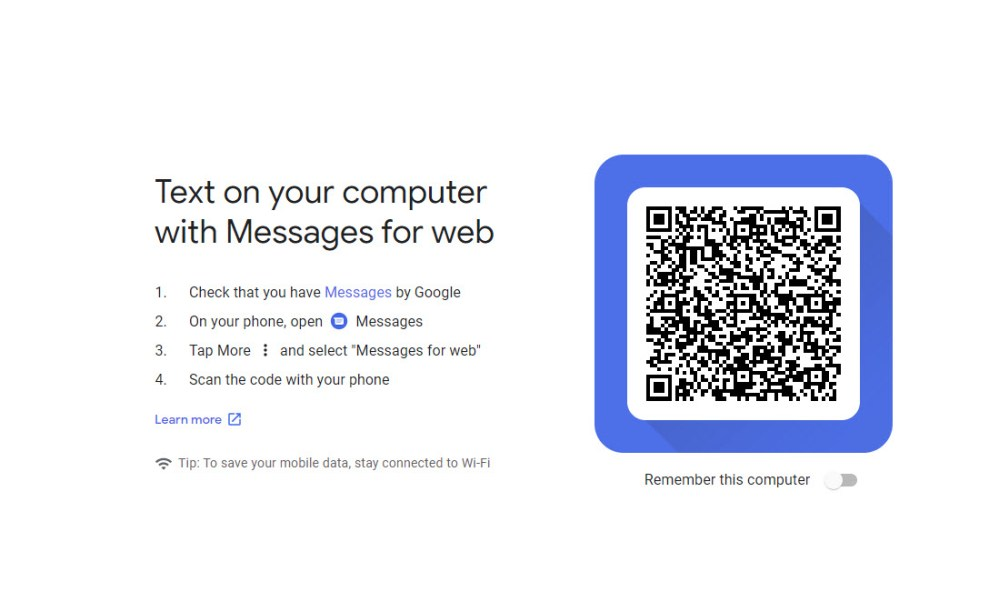 Android Messages web interface