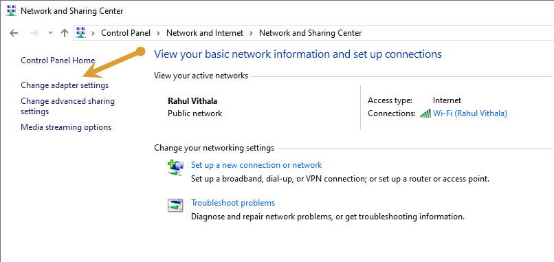 Change adapter settings in Network and Sharing