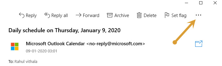 More commands in outlook