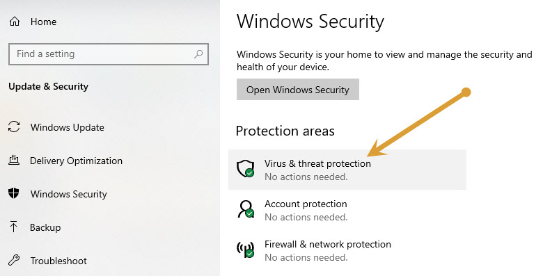 Virus and Threats protection in Windows Defender