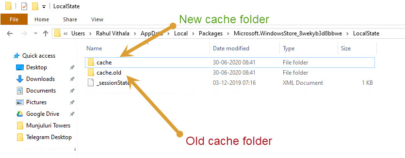 Creating new cache folder