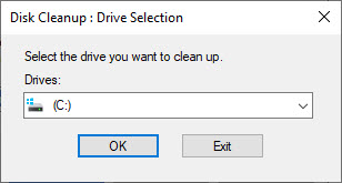 Disk cleanup drive selection window