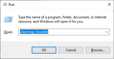 launching cleanmgr lowdisk command