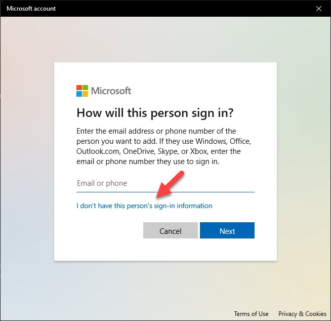 How will this person sign in Microsoft Windows 10