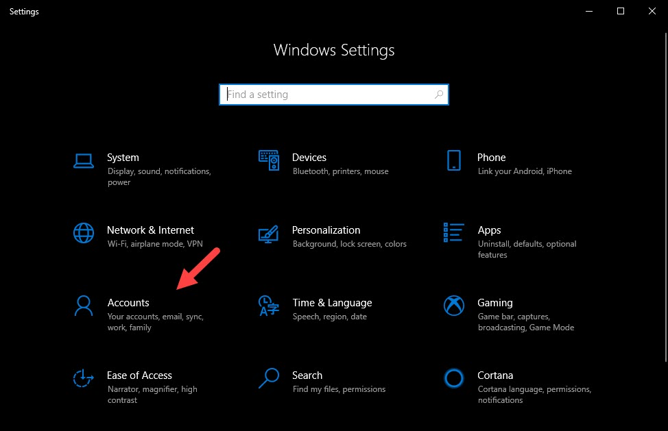 Windows Settings Screen