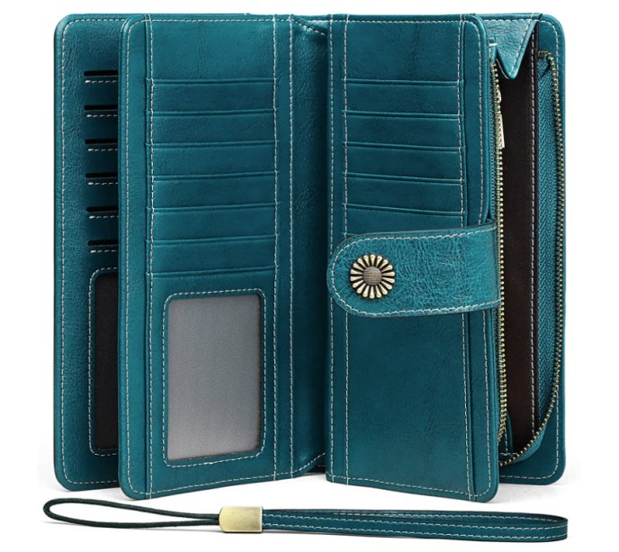 RFID Blocking Wallets for Women Large Lapacity Genuine Leather Wallet