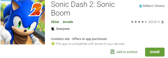 sonic dash 2 retro game