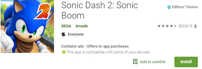 sonic dash 2 retro game