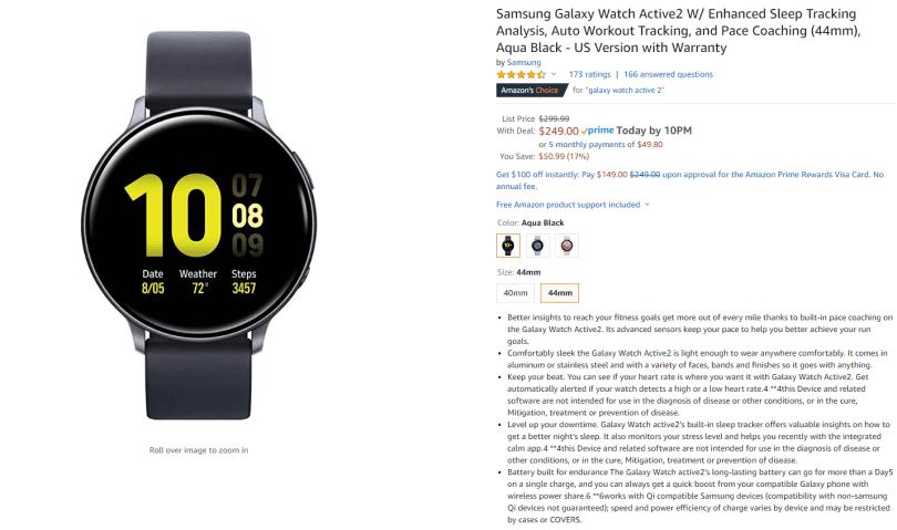 Best Black Friday Cyber Monday Tech deals - Samsung Active2 smartwatch