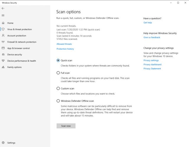 windows defender scan options