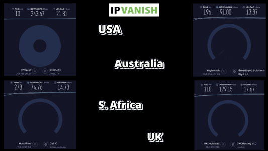 ip vanish VPN speed summary