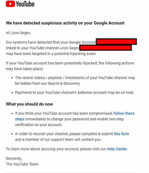YouTube channel hijacked email - thetechieguy