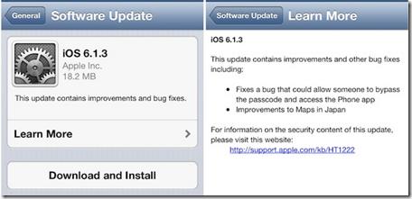 iPhone updaet 6.1.3