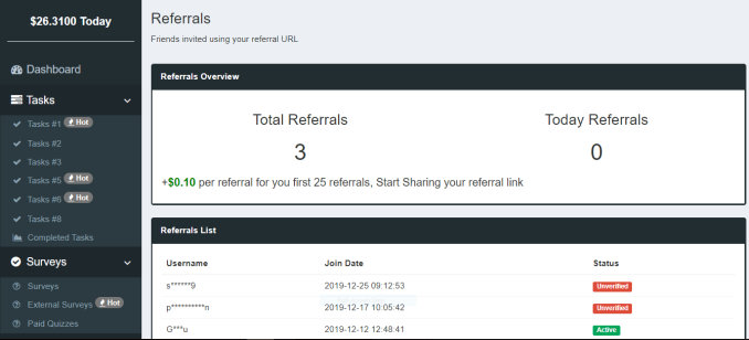 Referrals page of paidera