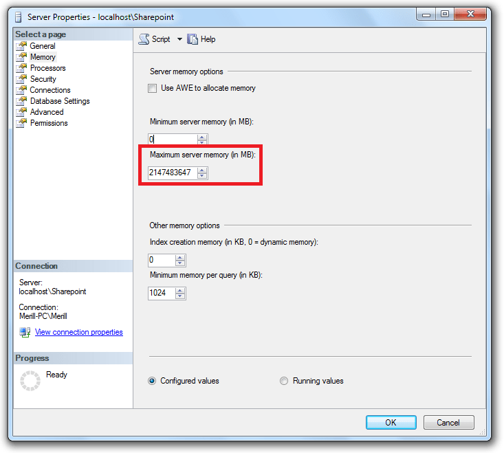 SQL Memory Leak Settings Work Around