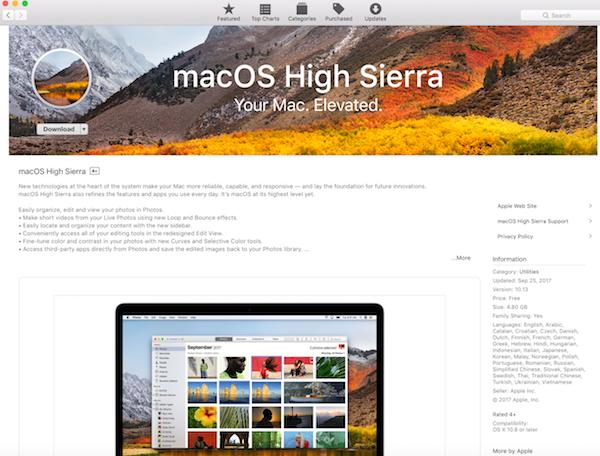 Apple Releases macOS High Sierra
